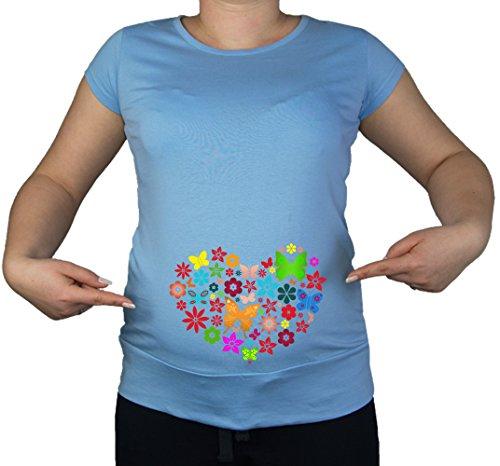Taille 20/grossesse coeur Papillon Love Print T-Shirt Tunique Bleu - Bleu