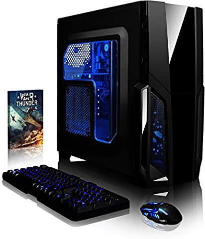 VIBOX Gaming PC - Pyro GS310-15 - 3.9GHz Intel i3 Dual Core CPU, GT 710 GPU, Budget, Desktop Computer with Game Bundle, Blue Internal Lighting and Lifetime Warranty* (3.9GHz Intel i3 7100 Kabylake Dual 2-Core CPU Processor, Nvidia GeForce GT 710 1GB Dedicated Graphics Card GPU, 16GB DDR4 2133MHz High Speed RAM Memory, Super Fast 120GB Solid State Drive SSD, 2TB (2000GB) Sata III 7200rpm Hard Drive HDD, 85+ Rated PSU, Gamer Case, B250 Motherboard, No Operating System Installed)