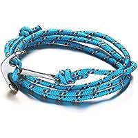 Vnox Acciaio inossidabile delle donne di nylon blu corda intrecciata uomo Maritime Anchor vichingo spostano il braccialetto,argento