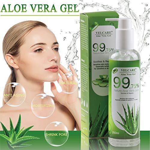 Aloe Vera Gel Bio 100% - Natürliche Beruhigende und Kühlende Pflegende Feuchtigkeitscreme für Sonnenbrand Reparieren Trockene Strapazierte Empfindlichqe Haut - für Gesicht Haare und Körper 250ml -
