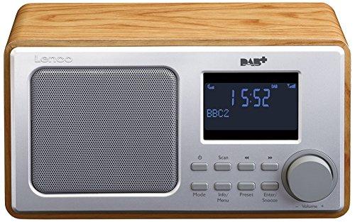 Lenco Digitalradio DAR-010 mit DAB+ und UKW Tuner (Senderspeicher, 2 Weckzeiten, Holzgehäuse, Kopfhörer-Anschluss), Braun