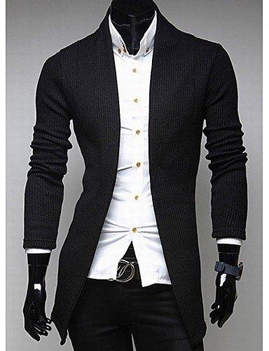 XX&GX v collo manica lunga cardigan maglieria uomo Heide di , black , l light gray