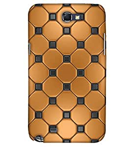 PrintHaat Designer Back Case Cover for Samsung Galaxy Note 2 :: Samsung Galaxy Note Ii N7100 (golden and black texture :: decorative design :: golden circle surrounded by black dots)
