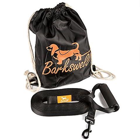 Laisse de dressage 15 m - Pour chiots et chiens - Poignée ergonomique rembourrée - Sac de rangement gratuit - En nylon extra robuste - Largeur 25 mm