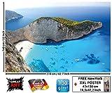 Papel pintado fotográfico que muestra la playa de Zakynthos - isla paradisiaca griega - Poster XXL Base jump - La playa de Navagio en la isla de Zakyn