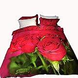 Unbekannt Mali 3D Große Blume Muster Bettbezug Umweltschutz Aktiv Drucken Baumwolle Bettwäsche 4-Teiliges Set Bettbezug * 1 + Bettwäsche * 1 + Kissenbezug * 2 Geeignet 1,5/1,8 M,7