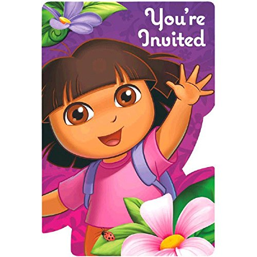 's Flower Adventure Birthday Party Invitation Cards Supply (8 Pack), 4 1/4 x 6 1/4 , Purple ()