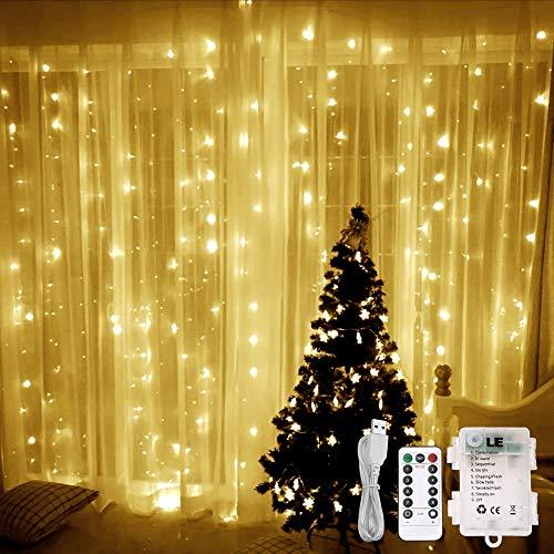 LE Cortina Luces LED USB o PILAS, 3m x 3m 300 LED, Mando incluido (8 modos, Intensidad Regulable, Temporizador), Resistente al agua, Blanco cálido decoración de casa