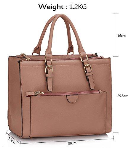 TrendStar Frauen Neuen Entwurfs Handtaschen Damen Leder Schulter Beutel Art Und Weisetote Large Mit Abnehmbarer Tasche (A - Burgund) C - Nackt