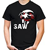 Jigsaw Männer und Herren T-Shirt | Halloween Saw Horror Geschenk Kostüm | M3 (Schwarz, XL)
