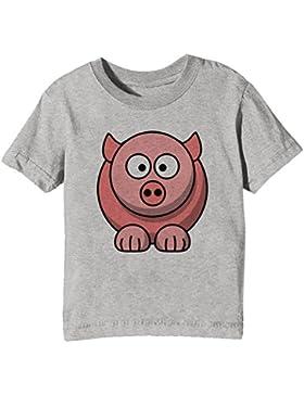 Cerdo Niños Unisexo Niño Niña Camiseta Cuello Redondo Gris Manga Corta Todos Los Tamaños Kids Unisex Boys Girls...