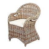 LEBENSwohnART Rattan-Sessel CHARLOTTE Antique Grey inkl. Sitzkissen Garten Stuhl Gartenmöbel