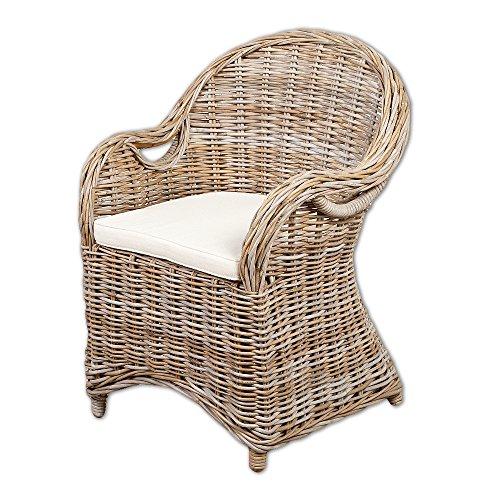 Rattan-Sessel CHARLOTTE Antique Grey inkl. Sitzkissen Garten Stuhl Gartenmöbel