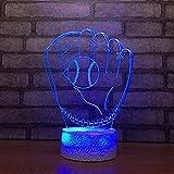 Yoppg Illuminazione 3D Lampade Luce Notturna LED 7 Colori Controllo Tattile USB O Batteria Comodino Bambini Cameretta Guanto Da Baseball Controllo Remoto