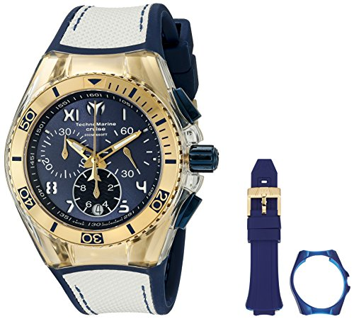 Technomarine Unisex 40mm Bracelet Silicone Bleu Boitier Acier Inoxydable Quartz Analogique Montre 115018