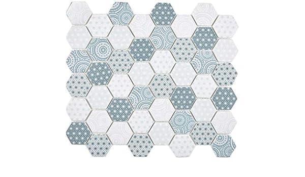 GLAS Mosaik Hexagon Sechseck ECO Carrara Wand Boden K/üche Dusche Bad Fliesenspiegel WB16-0222 1Matte