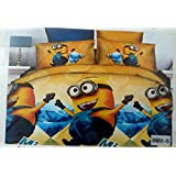 Glace Cotton Single Cartoon BEDSHEET With 1 Pillow Covers(Album Packing) (Minions)