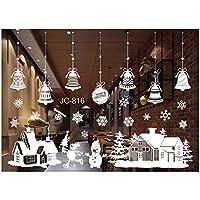 Tuopuda® Noël Cloches Stickers Muraux Salon Stickers Muraux De Fenêtres En Verre Décoratif (cloche et bonhomme de neige)