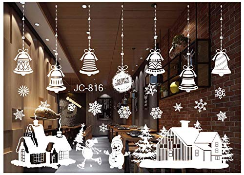 Tuopuda® Weihnachtssticker Frohe Weihnachten Aufkleber Jingle Bells Wandaufkleber für Home Shop Fenster Dekorative Aufkleber (Jingle Bells und schneemann)
