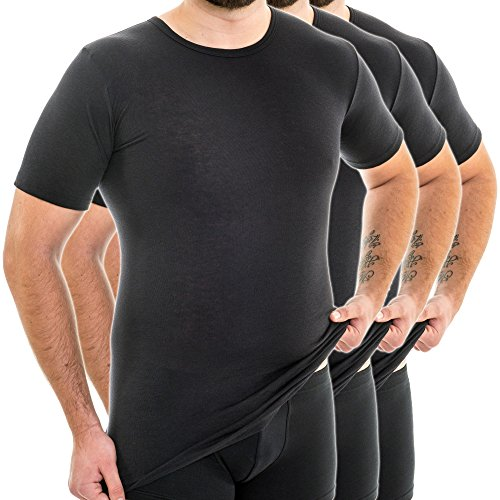 HERMKO 3847 3er Pack Herren extralanges kurzarm Shirt (+10cm) ,  Farbe schwarz 1ad7aa332f