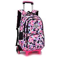 BOZEVON Kids Trolley Backpack - Backpacks for Girls School Bags Casual Daypacks Travel Trolley Backpack with Wheels, Black,6 Wheels