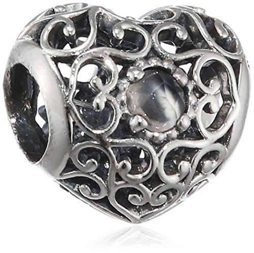 Pandora cuore charm da donna in argento 925–791784, argento, colore: grau (juni), cod. 791784msg