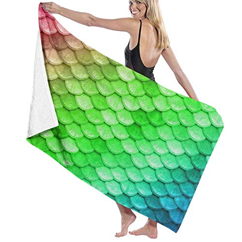 Beach Towels Decor Premium Polyester Fiber Super Absorbent Soft Bath Towel Beautiful Colorful Rainbow Mermaid Scales Soft, High Absorbent, Eco-Friendly Printed Bath Towel,Quick Dry 31.5\
