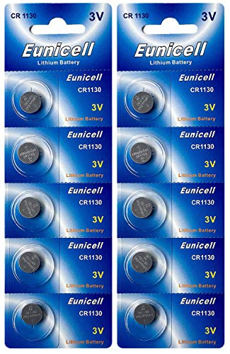 Eunicell 10 x CR1130 3V Lithium Knopfzelle 48 mAh (2 Blistercard a 5 Batterien) EINWEG