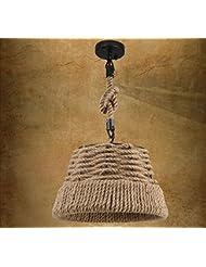 Rústico salón de la lámpara araña de cáñamo industrial estudio dormitorio viento artes comidas candelabros, 220v.35cm