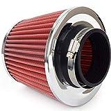Filtro dell'aria sportivo universale, con 3 adattatori, colore: rosso carbonio