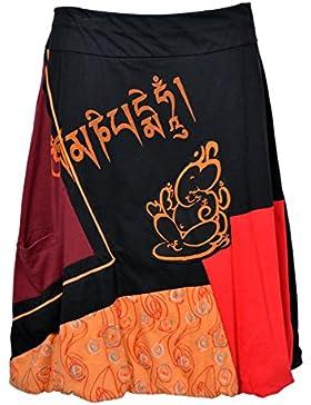 Tattopani- Gonna di cotone con elastico in vita. Dettagli di Ganesh stampati