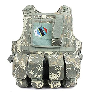 Pellor Hunting Tactical Military Airsoft Molle Tactical Assault Plate Carrier Vest With 4 Removable Bags by Pellor