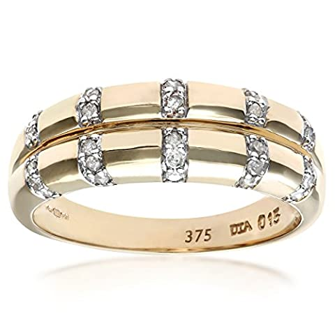 Naava Women's Diamond Ring, 9 ct Yellow Gold set with