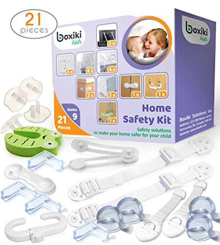 Kit Baby-proofing (Child Proofing Safety Kit 21 pcs by Boxiki Kids. 4 Corner Protector, 4 Plug Protectors, 2 Anti-Tip Furniture Straps for Home. Baby Proofing Kit with 6 Child Safety Locks for the Home.)