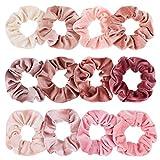Whaline Rosa Serie Samt Scrunchies Set Haargummis Velvet Gummibänder, Elastisches Haar Gummiband Bunte Haarbänder für Damen oder Mädchen Haarschmuck (12 Stück)