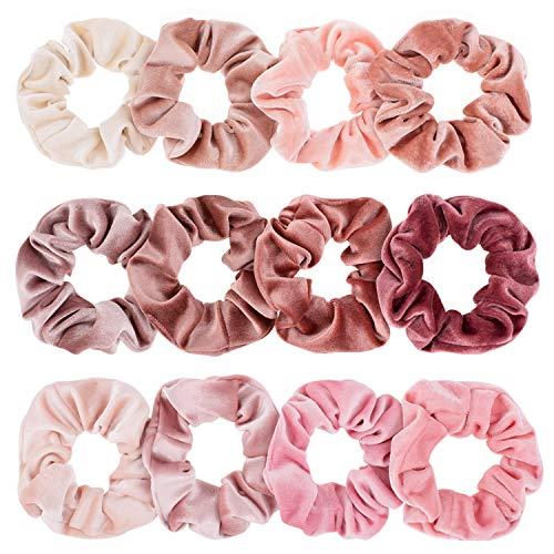 Whaline Rosa Serie Scrunchies Mädchen Haargummis Elastische Bunte Haarbänder Pferdeschwanz für Damen oder Mädchen Haarschmuck (12 Stück) -