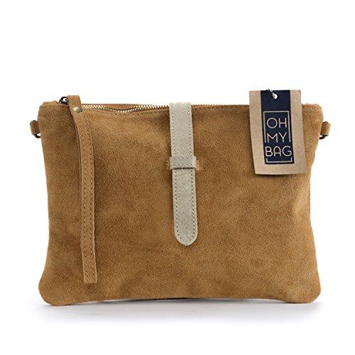 OH MY BAG Sac à Main pochette femme en cuir nubuck - Modèle Twiggy Nouvelle collection COGNAC
