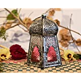 Collectible India Metal Pink Glass Antique Finish Lanterns Hanging Hurricane Tea Light Candle Holder Table Top Moroccan Lamp Special Occasion Events Parties & Weddings Gifts