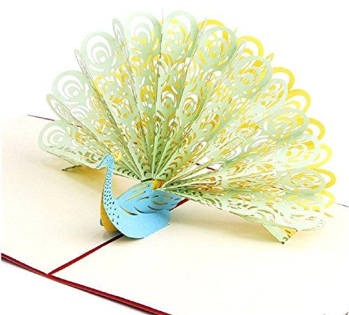 BC Worldwide Ltd Handgemachte Pop-up-3D-Pop-up-Karte grün gelb Pfau Geburtstag Valentines Muttertag Ostern Vatertag Hochzeit Anniversay Party Einladung