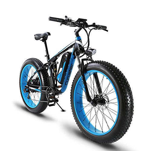 Extrbici XF800 1000W 48V13AH Electric Mountain Bike Full Suspension (Negro y Azul)
