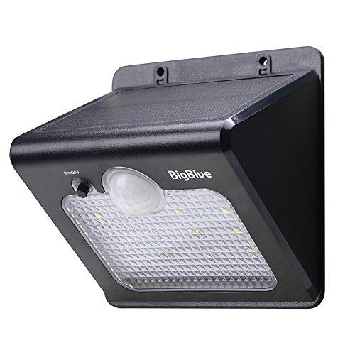 BigBlue 12 LEDs Solarleuchte mit Bewegungsmelder, 2.4W außen drahtlose und wetterfeste Solarlampe für Garten, Treppen, Balkon usw.