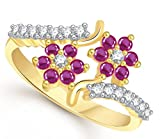 Lady touch Designer Double Flower Ruby D...