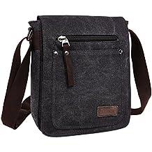 Super moderno lienzo Messenger Bag Bolsa de hombro Cruz Cuerpo Bolsa fresco estilo Fine iPad bolsa bolso Satchel Bag Mochila Escolar Para los hombres y las mujeres, hombre, negro