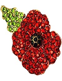 Red Poppy Flowers Brooch Pin Badge Glitter Soldier Enamel Lapel Plating Pin Gift Remembrance Day Left Diamond Leaf