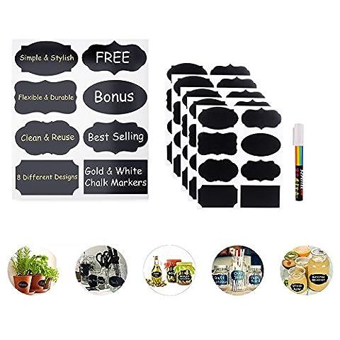 HanSemay 40pcs Tafelsticker,Etiketten Wiederverwendbare Set Ideal für Küche Büro Garten Handwerk Hochzeiten & mehr abnehmbar löschbar (schwarz) - Canning Vasi Bottiglie