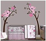 BDECOLL Baum Wandtattoo/Kinderzimmer Wandsticker/Cartoon Tiere Koala Wandsticker, Babyzimmer Kinderzimmer Entfernbare Wandtattoos Wandbilder(coffie branch rose flower)
