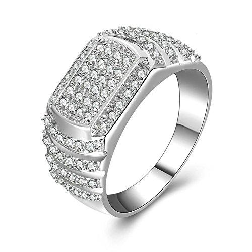 Daesar anelli di fidanzamento anelli zirconia cubica iced out anello rotondo bianco anelli zirconia cubica anello argento taglia 17