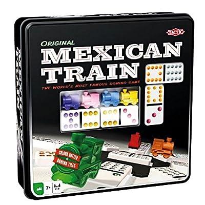 Tactic - 54005 - 91 Dominos De Grande qualité Et Des Pions Trains Amusants - 8 Joueurs - Boite Métal Avec Fenêtre