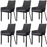 Festnight 6 Stücke Esszimmerstühle Essstuhl Küchenstühlr Küchenmöbel mit Armlehne Stoffbezug Dunkelgrau