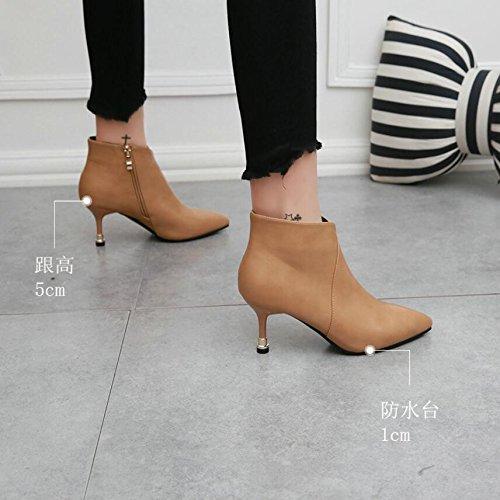 5cm A Lavorare beige Khskx Fashionshoes Stivaletti Con E Piccoli 38 Bordo Taglio Vanno Nudo Versatili Donne Singoli dx8w8Bz